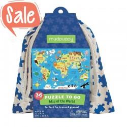 Puzzel to go Wereldkaart | Mudpuppy -