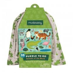 Puzzel to go Wereld Dieren | Mudpuppy -
